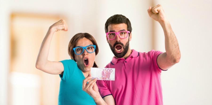 Funny Couple Saving Money